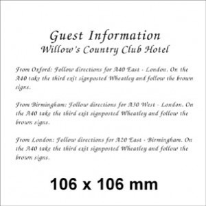 106 x 106 White Information Card