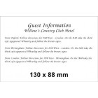 130 x 88 (Landscape) White Information Card