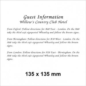 135 x 135 White Information Card