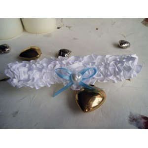 White Satin Wedding Garter with Heart and Blue Bow