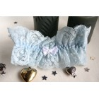 Blue Lace Wedding Garter with White Bow
