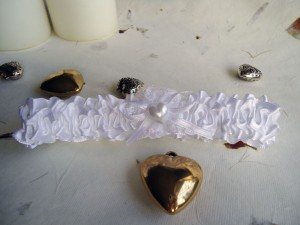 White Satin Wedding Garter with Heart
