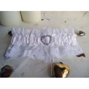 White Wedding Garter with Heart Buckle