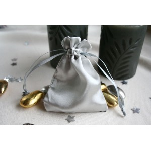 Silver Satin Favour Bag